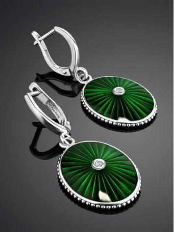 Эффектные серебряные серьги с эмалью гилоьш и бриллиантами «Наследие», фото , изображение 2