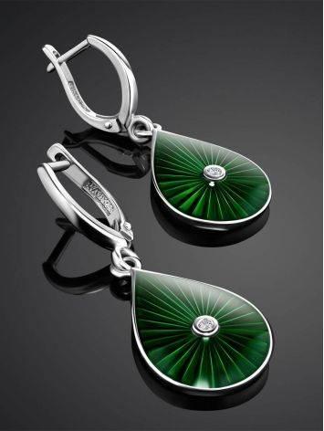 Яркие серьги-капли с зеленой эмалью и бриллиантами «Наследие», фото , изображение 2