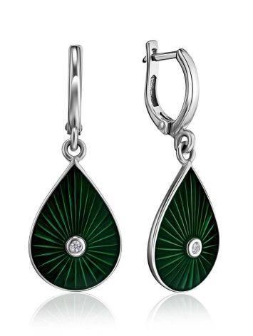 Яркие серьги-капли с зеленой эмалью и бриллиантами «Наследие», фото