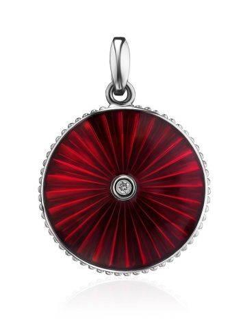 Круглая серебряная подвеска с эмалью и бриллиантом «Наследие», фото