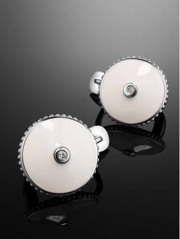 Милые серебряные серьги с эмалью и бриллиантами «Наследие», фото , изображение 2