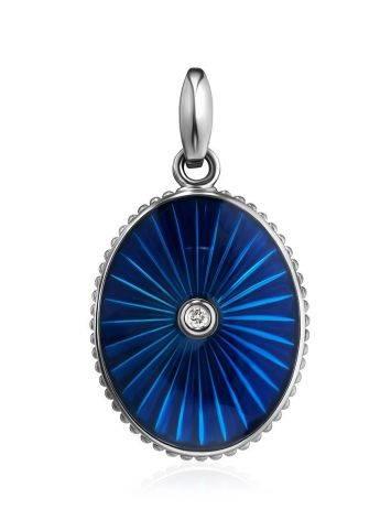 Овальный кулон с синей эмалью и бриллиантом «Наследие», фото