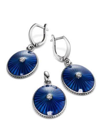 Удлиненные серебряные серьги с эмалью и бриллиантами «Наследие», фото , изображение 3