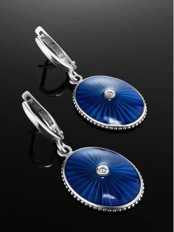 Удлиненные серебряные серьги с эмалью и бриллиантами «Наследие», фото , изображение 2