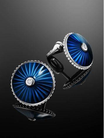 Круглые серьги-гвоздики с синей эмалью и бриллиантами «Наследие», фото , изображение 2