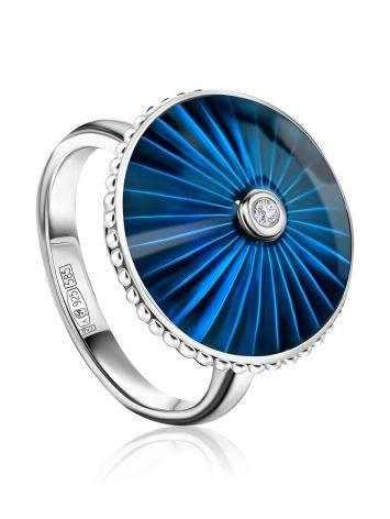 Серебряное кольцо с синей эмалью и бриллиантом «Наследие», Размер кольца: 16, фото
