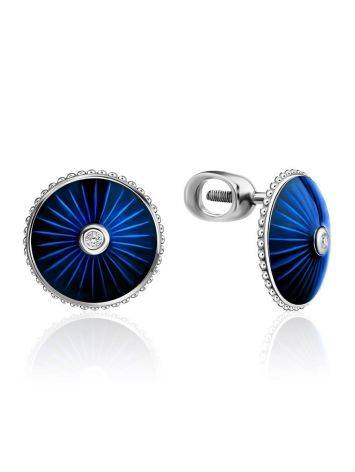 Круглые серьги-гвоздики с синей эмалью и бриллиантами «Наследие», фото