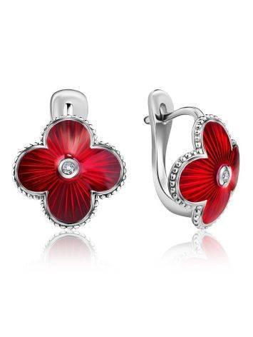 Серебряные серьги с красной эмалью гильош и бриллиантами «Наследие», фото