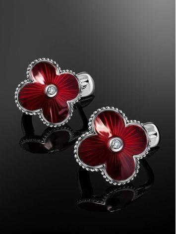 Серебряные серьги с красной эмалью гильош и бриллиантами «Наследие», фото , изображение 2