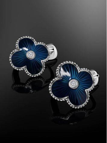 Стильные серебряные серьги с синей эмалью гильош и бриллиантами «Наследие», фото , изображение 2