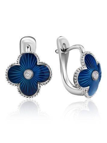 Стильные серебряные серьги с синей эмалью гильош и бриллиантами «Наследие», фото