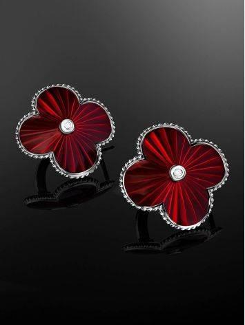 Яркие серебряные серьги в форме клевера с эмалью и бриллиантами «Наследие», фото , изображение 2