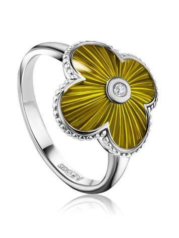 Серебряное кольцо в форме четырехлистника с эмалью и бриллиантом «Наследие», Размер кольца: 17, фото
