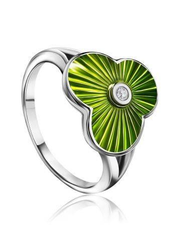 Серебряное кольцо с эмалью и бриллиантом «Наследие», Размер кольца: 16, фото