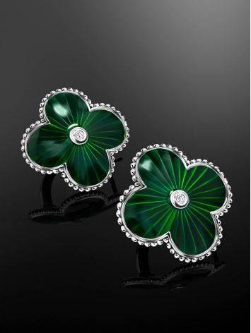 Эффектные серебряные серьги с зеленой эмалью и бриллиантами «Наследие», фото , изображение 2