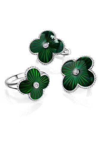 Эффектные серебряные серьги с зеленой эмалью и бриллиантами «Наследие», фото , изображение 3