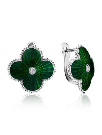 Эффектные серебряные серьги с зеленой эмалью и бриллиантами «Наследие», фото