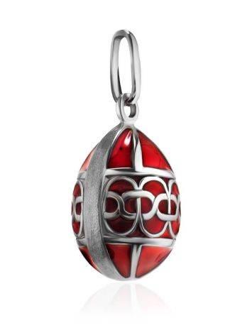 Серебряное яйцо-шарм с красной эмалью Romanov, фото , изображение 3