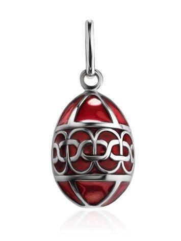 Серебряное яйцо-шарм с красной эмалью Romanov, фото