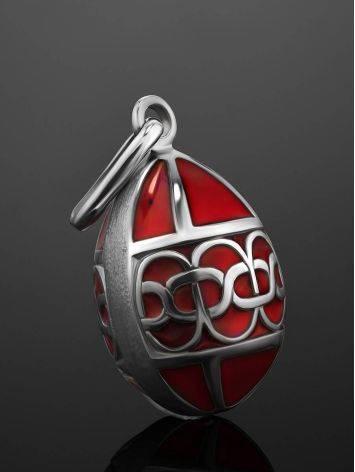 Серебряное яйцо-шарм с красной эмалью Romanov, фото , изображение 2