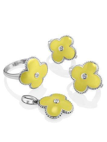 Серебряные серьги с лимонной эмалью и бриллиантами «Наследие», фото , изображение 3