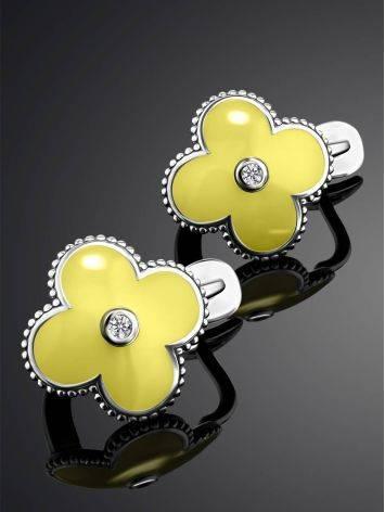Серебряные серьги с лимонной эмалью и бриллиантами «Наследие», фото , изображение 2