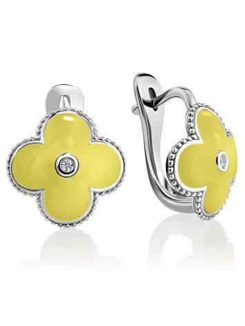 Серебряные серьги с лимонной эмалью и бриллиантами «Наследие», фото