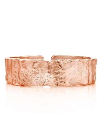 Стильное оригинальное кольцо с необычной фактурой из  серебра в розовом золочении Liquid, Размер кольца: б/р, фото , изображение 2