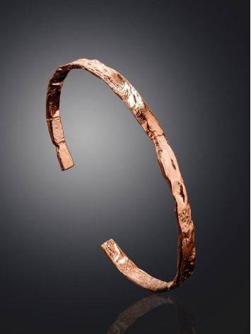 Тонкий яркий браслет из фактурного серебра в розовом золочении Liquid, фото , изображение 2