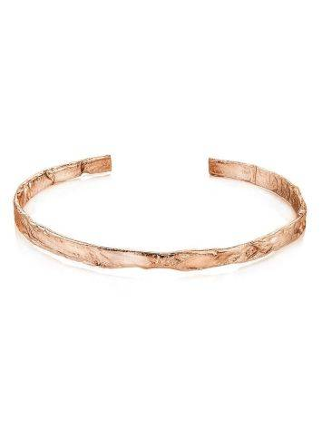 Тонкий яркий браслет из фактурного серебра в розовом золочении Liquid, фото , изображение 3