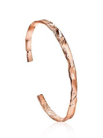 Тонкий яркий браслет из фактурного серебра в розовом золочении Liquid, фото
