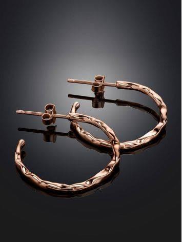 Стильные серьги-кольца из серебра в розовом золочении Liquid, фото , изображение 2