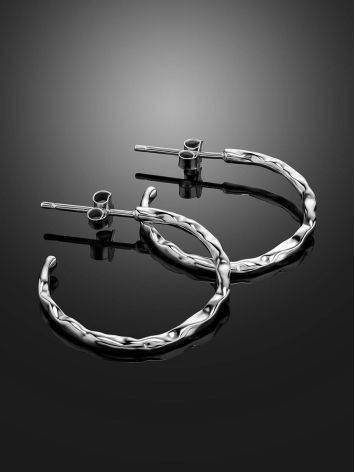 Стильные серьги-кольца из серебра Liquid, фото , изображение 2