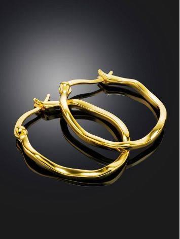 Стильные серьги-кольца из позолоченного серебра Liquid, фото , изображение 2
