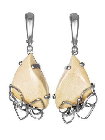 Эффектные серьги из ажурного серебра и бивня мамонта «Эра», фото