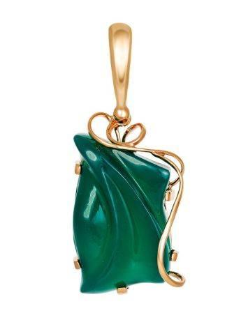 Необычный кулон «Серенада» из золочённого серебра с зелёным ониксом, фото