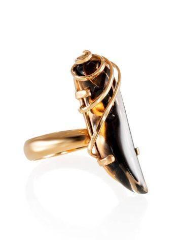 Позолоченное серебряное кольцо со вставкой из дымчатого кварца «Серенада» б/р, Размер кольца: б/р, фото
