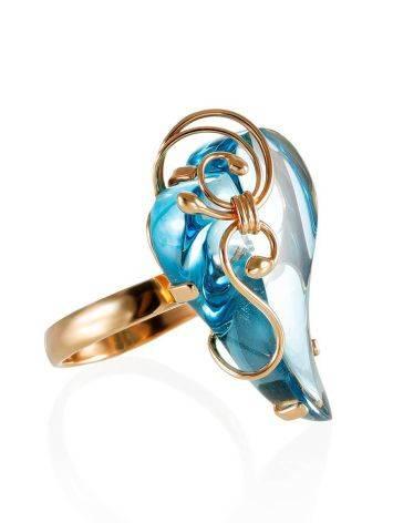 Роскошное золотое кольцо «Серенада» с топазом Скай б/р, Размер кольца: б/р, фото