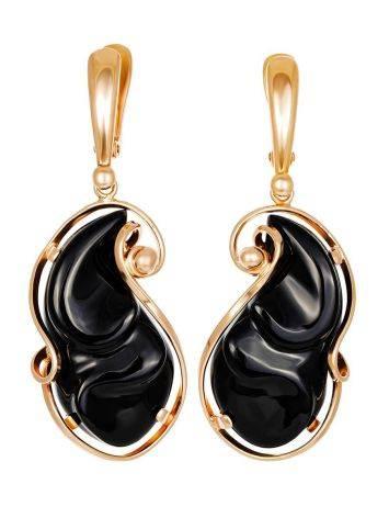 Роскошные яркие серьги «Серенада» из золочённого серебра с чёрным ониксом, фото